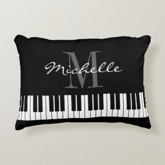 Black and white piano keys monogram accent pillow