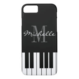 Black and white piano keys monogram iPhone 7 case
