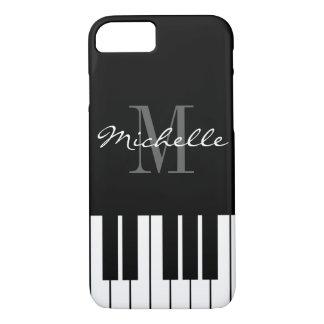 Black and white piano keys monogram iPhone 7 case