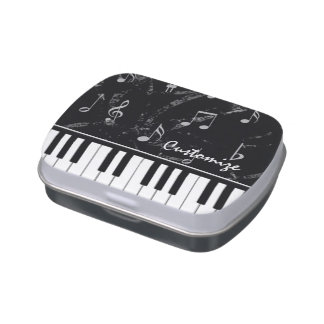 Black and White Piano Music Jelly Belly Favor Tin Candy Tins