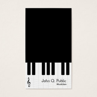 Black and White Piano Musician Business Card