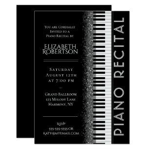 Black And White Piano Recital Invitation