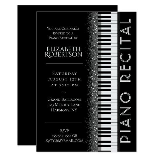 Black And White Piano Recital Invitation Zazzle Com