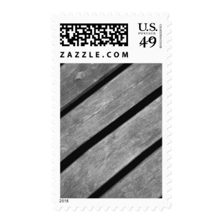 Black and White Picture of Wood Planks Postage Stamps