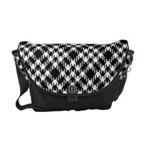 Black and White Pied De Poule Courier Bag