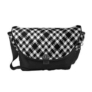 Black and White Pied De Poule Courier Bag
