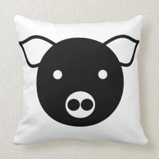 BLACK AND WHITE PIG DESIGN Throw Pillow