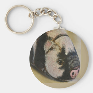 Black and White Pig Keychain