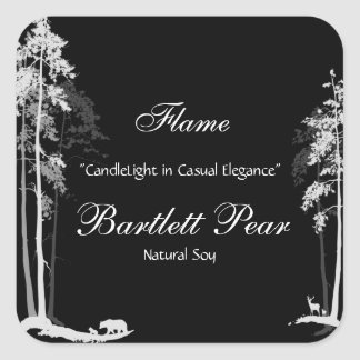 Black and White Pine Tree Forest Candle Label Square Sticker