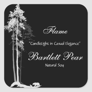 Black and White Pine Tree Forest Candle Label v2 Square Sticker