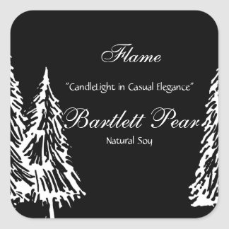 Black and White Pine Tree Graphic Candle Label Square Sticker
