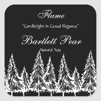 Black and White Pine Tree Graphic Candle Label v2 Square Sticker