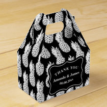 Black and white pineapple custom wedding party favor box