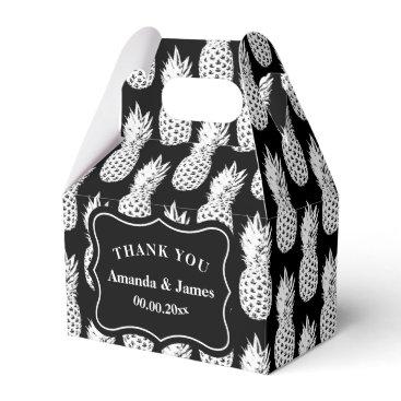 Beach Themed Black and white pineapple custom wedding party favor box