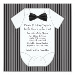 Black and White Pinstripe Baby Shower Card