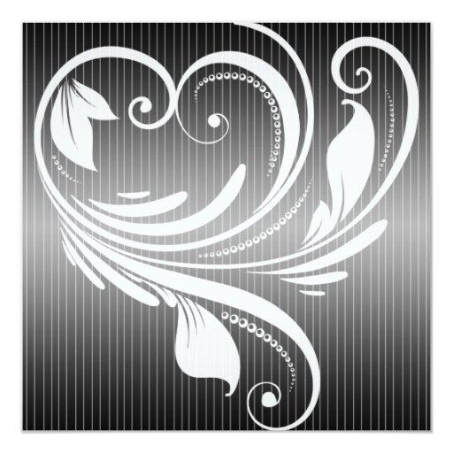 Black and White Pinstripe Heart Wedding Invitation
