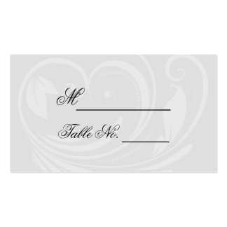 Black and White Pinstripe Heart Wedding Place Card Business Card