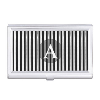 Black and White Pinstripes Personalized Monogram Business Card Cases