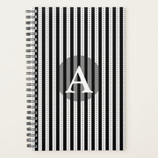 Black and White Pinstripes Personalized Monogram Planner