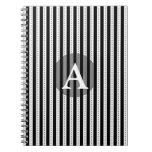 Black and White Pinstripes Personalized Monogram Spiral Notebooks