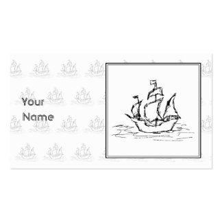 Black and White Pirate Ship. On ship pattern. Business Card