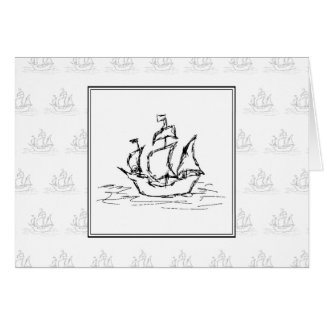 Black and White Pirate Ship. On ship pattern. Stationery Note Card
