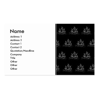 Black and White Pirate Ship Pattern. Business Card