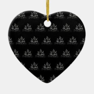Black and White Pirate Ship Pattern. Ceramic Ornament