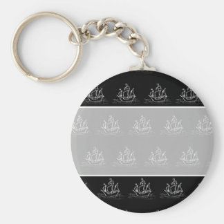 Black and White Pirate Ship Pattern. Basic Round Button Keychain