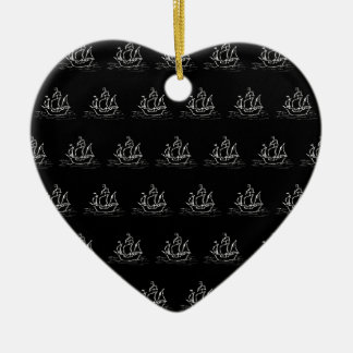 Black and White Pirate Ship Pattern. Christmas Tree Ornament