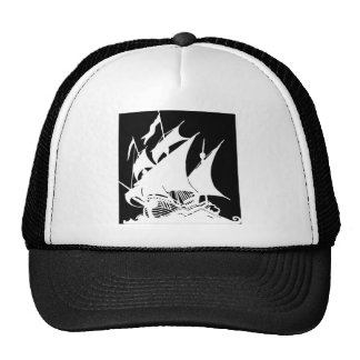 Black and White Pirate Ship Trucker Hat