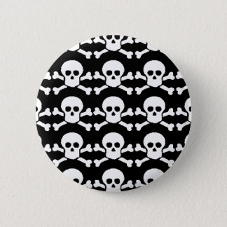 black and white pirate skull pinback button