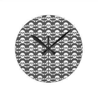 black and white pirate skull round clock