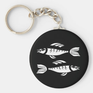 Black and White Pisces Keychain