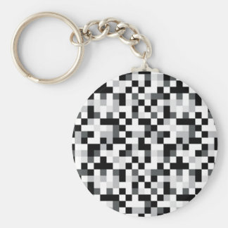 Black and White Pixel Design Keychain