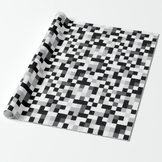 Black and White Pixel Design Wrapping Paper