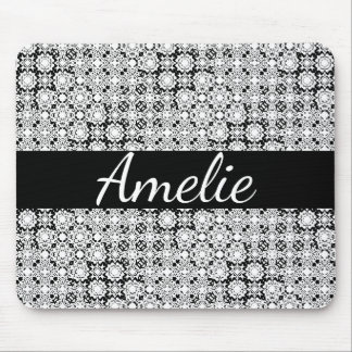 Black and White Pixel Lace Name Mousepad