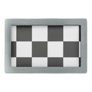 black and white plaid rectangular belt buckle