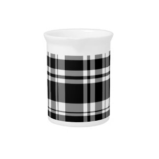 Black and White Plaid Beverage Pitcher