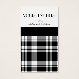 Black and White Plaid Business Card