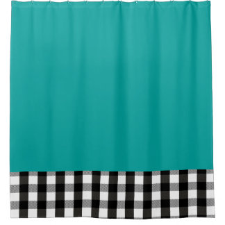 Black and White Plaid CHOOSE YOUR BACKGROUND COLOR Shower Curtain