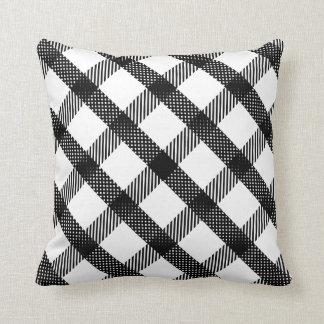 Black and White Plaid Design Throw Pillow