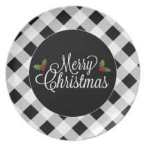 Black and White Plaid Merry Christmas Plate