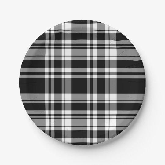 Black and White Plaid Paper Plate  sc 1 st  Zazzle & Black and White Plaid Paper Plate | Zazzle.com