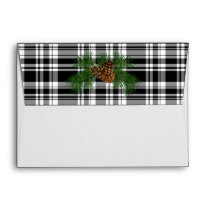 Black and white plaid  pine cone - happy holidays envelope