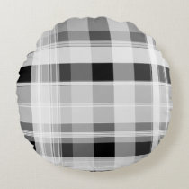 Black and White Plaid Round Pillow