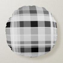 Black and White Plaid Round Pillow
