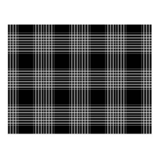 Black and White Plaid Tartan Pattern Postcard