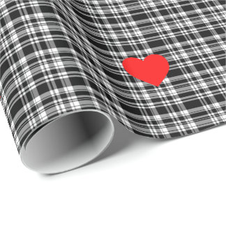 Black and White Plaid with red heart accent Wrapping Paper