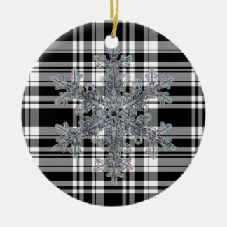 Black and White Plaid with snow flake detail Ceramic Ornament